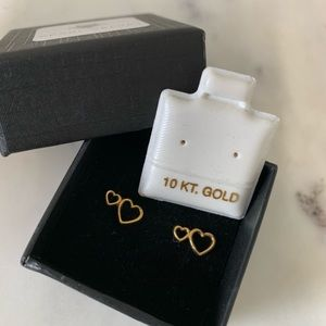 Jewelry - 10k double heart earrings yellow gold studd